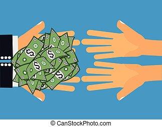 Give Money Cash Dollars -x - Hands handing dollar money or...