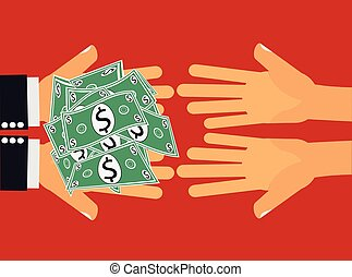 Give Money - Hands handing dollar money or cash to another...