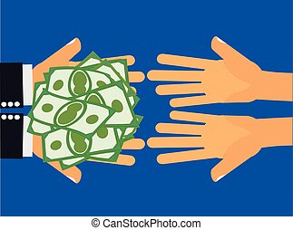 Give Money - Hands handing money or cash to another pair of...