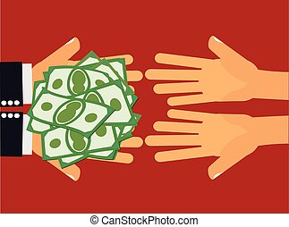 Give Money or Charity for The Poor - Hands handing money or...