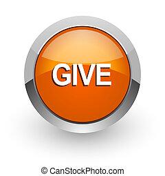 give orange glossy web icon