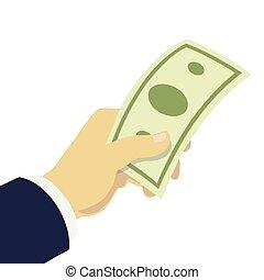 give penge, hånd