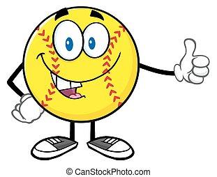 give, smil, softball, tommelfinger oppe