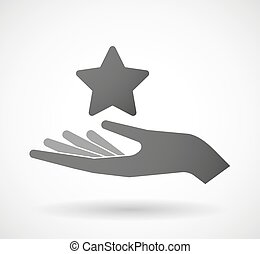 give, stjerne, hånd