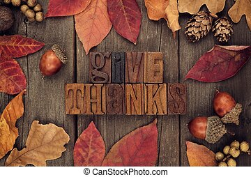 Give Thanks letterpress with frame of autumn leaves over...