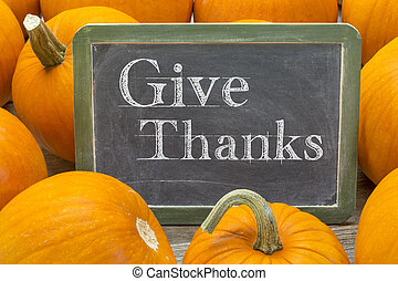 give thanks phrase on balckboard