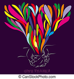 Give thanks - Spreading of colorful abstract shapes from a ...
