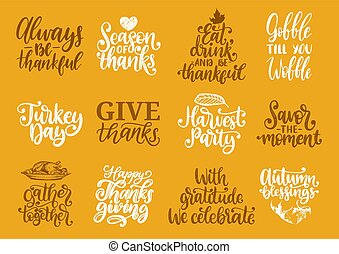 Give Thanks, Turkey Time etc., vector handwritten...