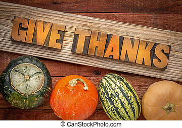 give thanks - Thanksgiving concept - word abstract in letterpress wood type over a grained cedar plank against rustic barn wood with winter squash