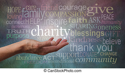 Woman's outstretched open hand with the word 'charity' in white above palm, surrounded by charity related words on a rustic blue and purple stone effect background