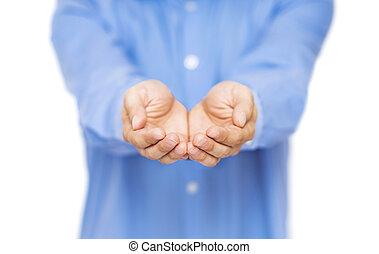 give, viser, holde, åbn, concept., hands.