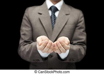 give, viser, sort baggrund, holde, åbn, concept., hands., mand