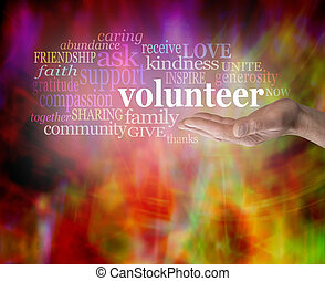 Give Volunteering a Go - Male hand palm up with the word...