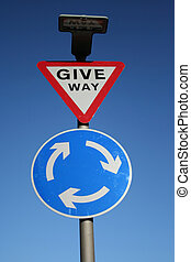 Give way and roundabout sign