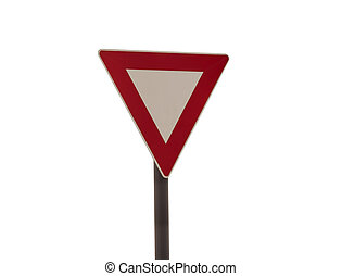 give way traffic sign isolated on white