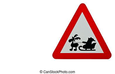 Give way traffic sign with santa - Santa give away traffic
