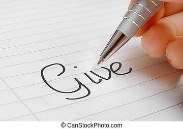 Give word handwriting