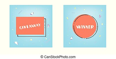 Giveaway and Winner card set for socail media. Vector illustration.