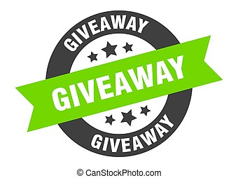 giveaway sign. giveaway black-green round ribbon sticker