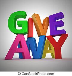 "Giveaway - Text ""Giveaway"" made from multicolored letters"