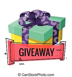 Giveaway winner present. Gift poster for social media post. Holidays and shopping giveaway gifts promo for wedding. Special prize congratulation concept