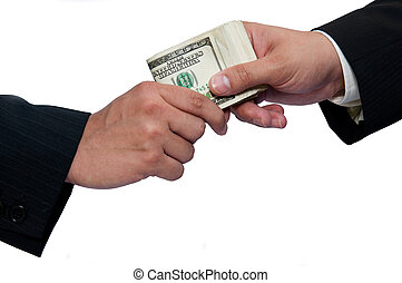 Giving a Bribe - Giving a bribe, hands of businessmen on a...