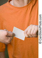 Giving a card