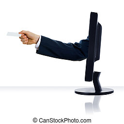 Giving a card - a hand sticking out of a monitor with a card