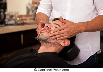 Giving a face massage