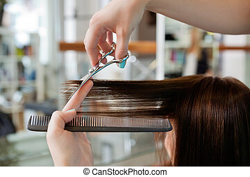 Giving A Haircut - Close up of beautician's hand with a comb...
