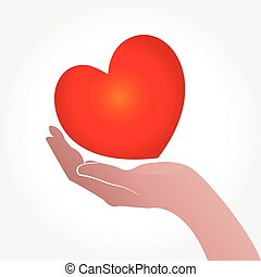 Giving a love heart  logo