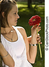 Giving a red flower