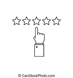 Giving five stars raiting line icon on white background