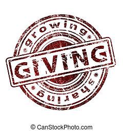 """giving"", gummi, grunge, stämpel"