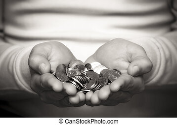 Giving money - A person who gives money