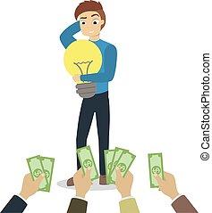 Giving money for idea.