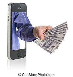 Giving money over smart phone - Human hand holding and...