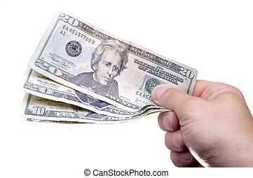 Giving Money - Businessman giving american money over white...