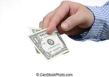 Giving one dollar bill