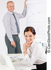 Giving presentation businessman with flip-chart