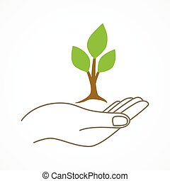 Giving Seed - Simple graphic of a hand holding a young tree...
