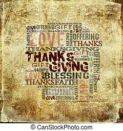 Giving Thanksgiving Blessing - Grunge Style Background
