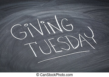 Giving Tuesday blackboard sign - Giving Tuesday - white ...