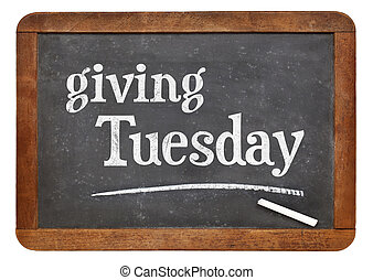 Giving Tuesday blackboard sign - Giving Tuesday -white chalk...
