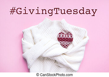 Giving Tuesday concept. Red heart on white sweater - Giving ...