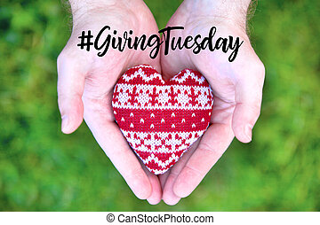 Giving Tuesday concept with red heart in hands - Giving ...