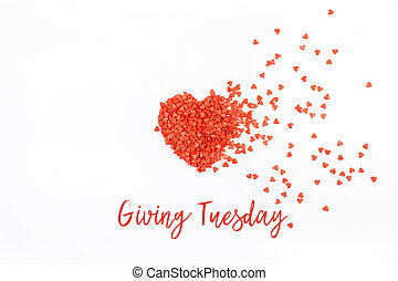 Giving Tuesday concept with red heart on white - Giving ...