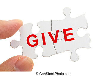 Giving - Word give and Puzzle, business concept