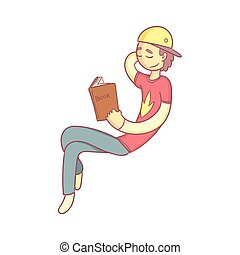 Giy Reading A Book Smiling