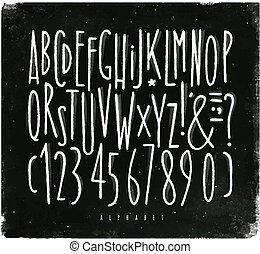 giz, alfabeto, direito, fonte, linhas